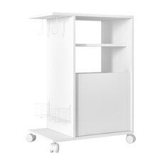 Accentuations Modern Marina Mobile Pantry with 3- Shelves, 2- Hooks and 1- Rack in White and Oak
