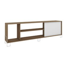 Accentuations Eye- catching Nacka TV Stand 1.0 with 4 Shelves and 1 Sliding Door in an Oak Frame with a White Door and Feet