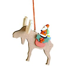 Santa on Elk Ornament