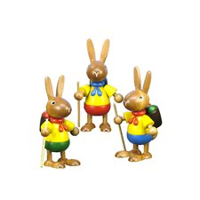 Christian Ulbricht Hiking Bunnies with Backpack Ornament (Set of 3)