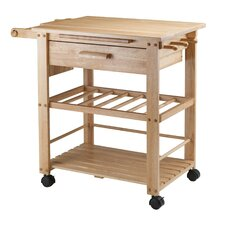 Finland Kitchen Cart with Wooden Top