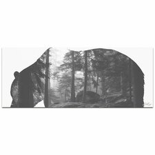 Grizzly Bear Forest | Contemporary Metal Animal Silhouette Graphic Art