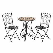 Avalon 3 Piece Bistro Table and Folding Chair Set
