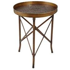 Scroll Embossed Metal Side Table