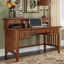 Arts and Crafts Computer Desk with Keyboard Tray and Hutch