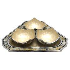 3 Piece Bowl and Triangular Tray Set