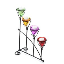 Quartet Metal and Glass Candelabra