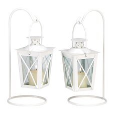 Modern Style Iron & Glass Lantern (Set of 2)