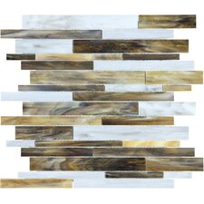 "Baroque 13.25"" x 12"" Random Strip Stained Glass Mosaic in Corallo"