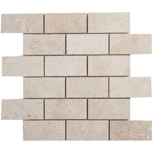 "Light Ivory Brick 4"" x 2"" Travertine Filled & Honed Mosaic"