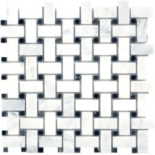 Carrara Extra Basketweave Random Sized Marble Polished Mosaic in White