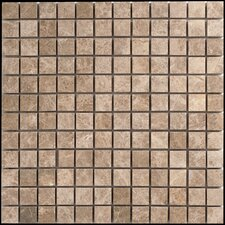 "Emperador 1"" x 1"" Light Marble Polished Mosaic in Beige and Brown"