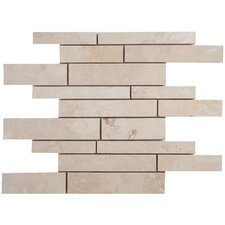 Travertine Random Sized Strip Filled and Honed Tile in Light Ivory
