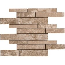 Emperador Random Strip Sized Light Marble Polished Mosaic in Beige & Brown