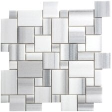 "Equator 13"" x 13"" Marble Polished Mosaic in White & Grey"