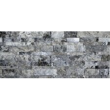 Travertine Split Face Random Sized Wall Cladding Tile in Silver and Gray