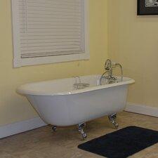 """60.5"""" x 23.25"""" Rolled Rim Soaking Claw Foot  Bathtub"""