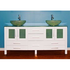 "White Emerald 71"" Double Bathroom Vanity Set"