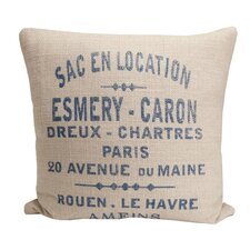 Hampton Classic French Words Cotton Throw Pillow