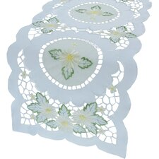 Elegant Daisy Embroidered Cutwork Table Runner