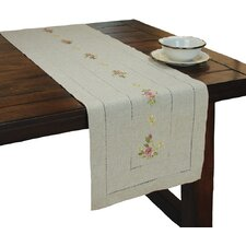 Ribbon Embroidery Rose on Natural Linen with Hemstitch Table Runner