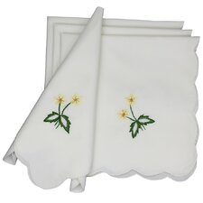 Handmade Crochet with Embroidery Flowers Napkin (Set of 4)