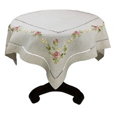 Ribbon Embroidery Rose on Natural Linen with Hemstitch Table Topper