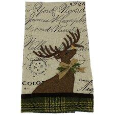 Reindeer with Suede Applique Tea Towel