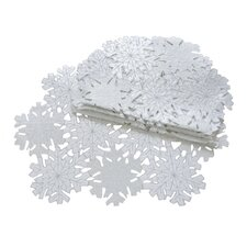 Shimmer Snowflake Embroidered Cutwork Placemat (Set of 4)