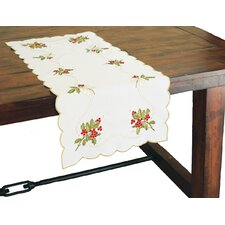 Holly Berry Embroidered Table Runner