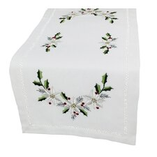 Country Poinsettia Embroidered Hemstitch Table Runner
