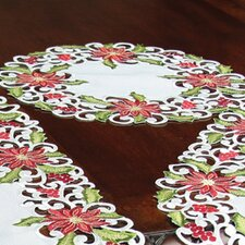Poinsettia Lace Embroidered Cutwork Round Doily (Set of 4)