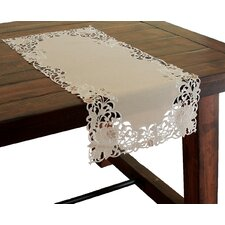 Scrolling Rose Embroidered Cutwork Table Runner