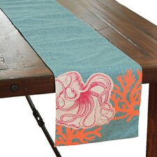 Coastal Applique Octopus with Print Coral Table Runner