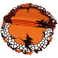 Witch Embroidered Cutwork Halloween Doily (Set of 4)