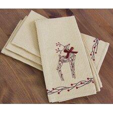 Rustic Reindeer Christmas Tea Towel (Set of 4)