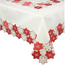 Candy Cane Poinsettia Table Cloth