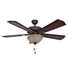 "52"" Winchester Ornate Bowl Light 5 Blade Ceiling Fan"
