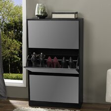 Albany Wood Shoe Storage Cabinet with Mirror
