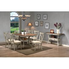 Baxton Studio Balmoral Shabby Elegance Country Cottage Antique Oak Wood and Distressed Light Grey 8-Piece Dining Set with 40-inch Extendable Dining Table