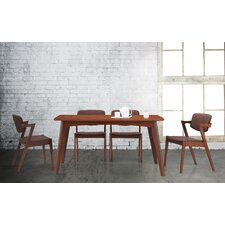 Elegant Dark Walnut Wood Brown Fabric Upholstered 5-piece Dining Set