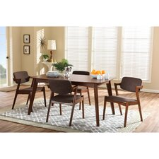 Elegant Dark Walnut Wood Brown Fabric Upholstered 5-piece Dining Set