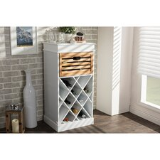Dresdon British Colonial Classical Country Style 1 Drawer Cabinet with Built-in Wine Rack