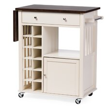 Justin Solid Wood Kitchen Cart with Dark Oak Drop Leaf Top and Built-in Wine Rack