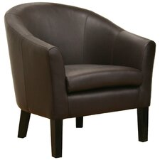 Minstrels Leather Accent Chair in Dark Brown