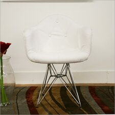 Baxton Studio Lia Faux Leather Arm Chair with Eiffel Base in White