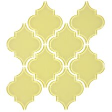 "Water Jet 3.9"" x 4.7"" Glass Mosaic Tile in Classic Yellow"