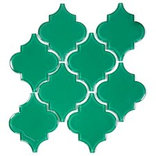 "Water Jet 3.9"" x 4.7"" Glass Mosaic Tile in Emerald Green"