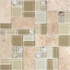 Venetian Random Sized Glass and Stone Mosaic Tile in Beige and Taupe