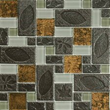 Venetian Random Sized Glass and Stone Mosaic Tile in 4 Color Blend